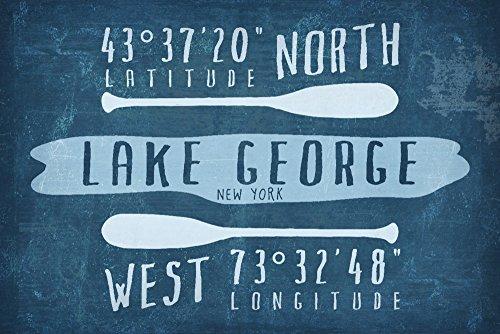 Lake George, New York - Lake Essentials - Latitude and Longitude (12x18 Art Print, Wall Decor Travel Poster) (Latitude And Longitude Of New York Usa)