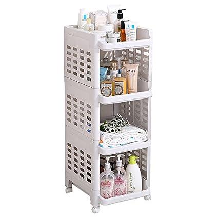 super popular 9a8c4 5e61e Aojia AJ 4-Tier Plastic Shelf Bathroom Storage Shelves ...