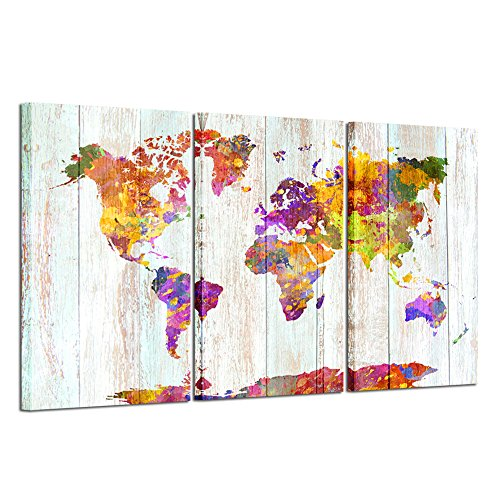 Kreative Arts - Large Size Canvas Prints Wall Art Watercolor Push Pin Travel World Map Modern Wall Decor Stretched Gallery Canvas Wrap Giclee Print Ready to Hang Home Decoration by Kreative Arts
