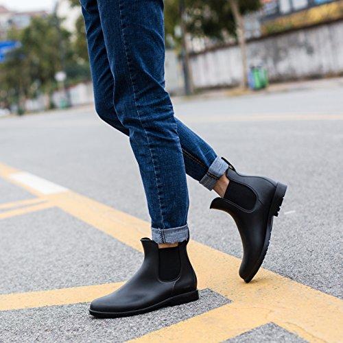 Zkyo Chelsea Blockabsatz Regenstiefel 43 34 Kurz Stiefeletten mit Boots Damen Gummistiefel Größe Ankle Rutschfeste Schwarz Herren rq0wr1f