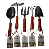 Unity 5-Piece Premium Medium Duty Garden Tool Set - Ergonomic Wooden Handles - Anti-Rust - Strong And Durable - Garden Tested