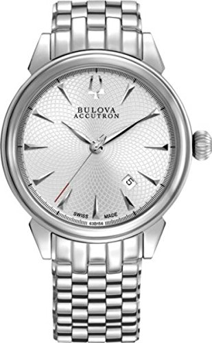 Bulova Accutron #63B156 Men's Gemini Swiss Made Stainless Steel Silver Dial Automatic Watch