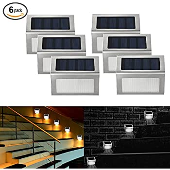 Websun solar step lights 3 led solar powered stair lights outdoor lighting for steps paths