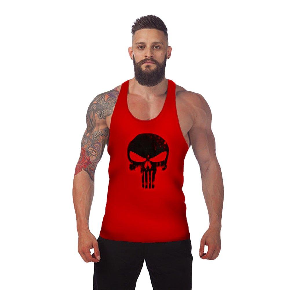 ROBO Mens Skull Print Stringer Bodybuilding Gym Tank Tops Workout Fitness Vest