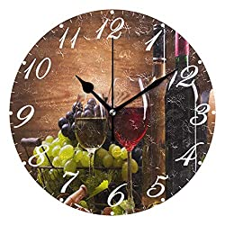 Pfrewn Wall Clock Glasses Wine Grapes Wooden Clock Silent Non Ticking Round Wall Clocks Battery Operated Decor,Vintage Clocks 10 Inch Quartz Analog Quiet Desk Clock Bedroom Living Room for Kids
