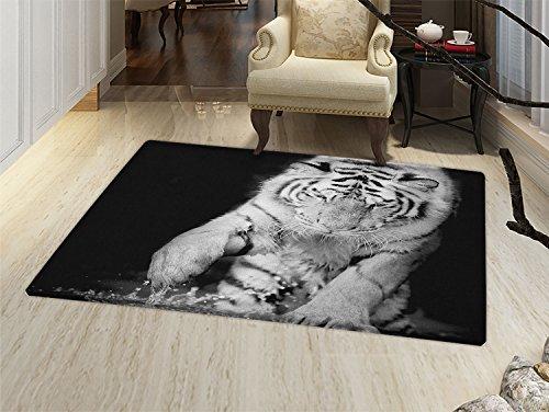 Tiger - Felpudo con diseño de bengala, color blanco y negro ...