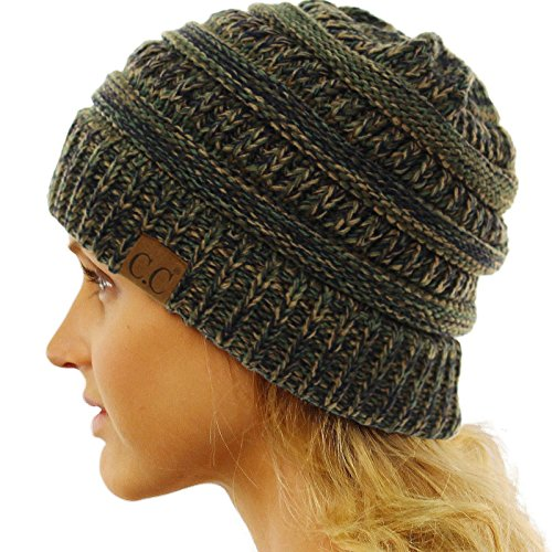 CC Quad Color Warm Chunky Thick Stretchy Knit Slouchy Beanie Skull Cap Hat (Knit Hat Olive)