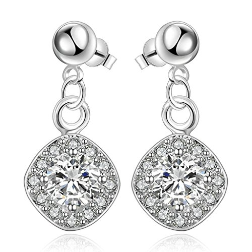 [Gnzoe Jewelry, 18K Silver Plated Drop Earrings Round White Crystal Eco Friendly] (Costumes Brisbane Australia)