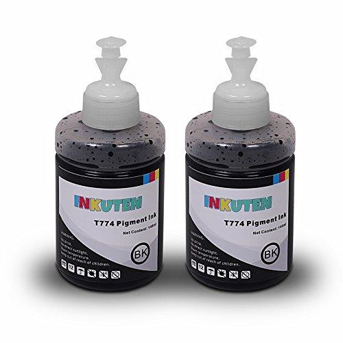 INKUTEN - Set of 2 Refill Ink Kit 140ml Super High-Yield Pigment for 774 T774 T7741 - L200 Printer Epson