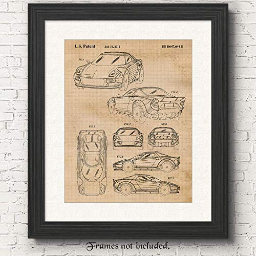 (Original Lancia Stratos Patent Poster Print- Set of 1 (One 11x14) Unframed Picture- Great Wall Art Decor Gifts Under $15 for Home, Office, Garage, Man Cave, Shop, Teacher, Rally Sport Driver-Fan)