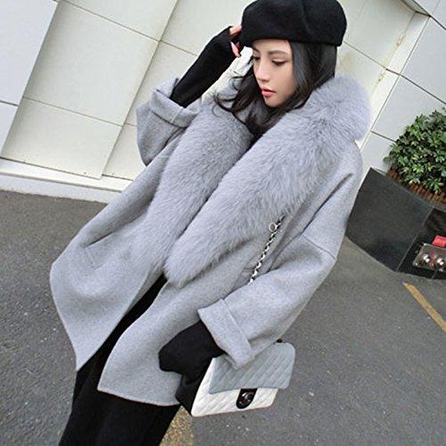 61248df17a6d7 spyman Good-looking Elegant Women Winter Wool Coats Fur Collar Plus Size  Grey Warm Loose