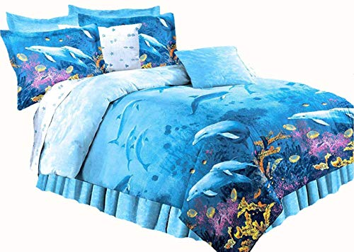 "DOLPHINS Cove Sea Life Blue Comforter & Sheet Set (8pc Full Size 76"" x 86"")"