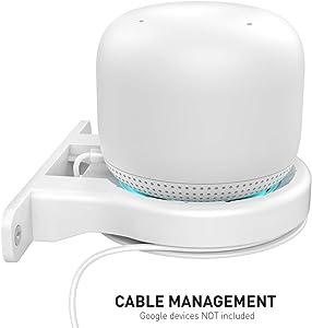 Delidigi Google WiFi Wall Mount ABS Bracket Holder Shelf for Google Nest WiFi Router [Built-in Cable Management] (White)