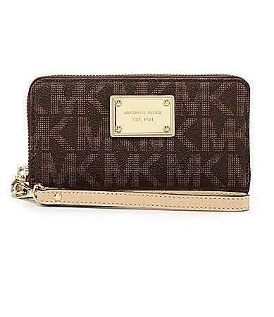 MICHAEL KORS MK Zip Wristlet Wallet Case for iPhone 5S, 5C, 5, 4s & 4m, Brown