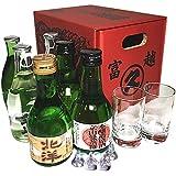 富山の地酒 いやしの薬箱(180ml×6本+素敵なグラスのぐい呑み2個+キスチョコ4個セット)