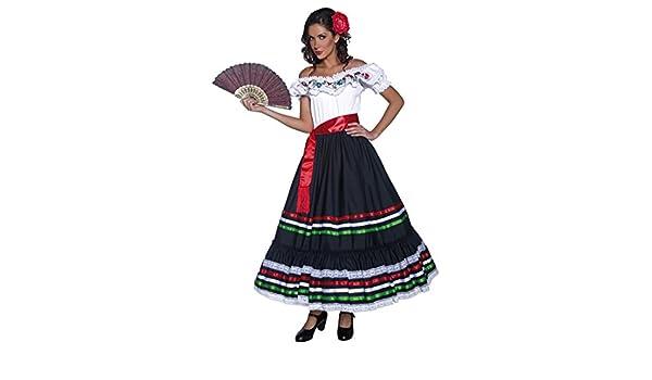 Disfraz flamenca Ropa señorita S 36/38 Vestido bailaora Carmen Ropa andaluza Atuendo gitana carnaval Vestimenta western de mujer: Amazon.es: Juguetes y ...
