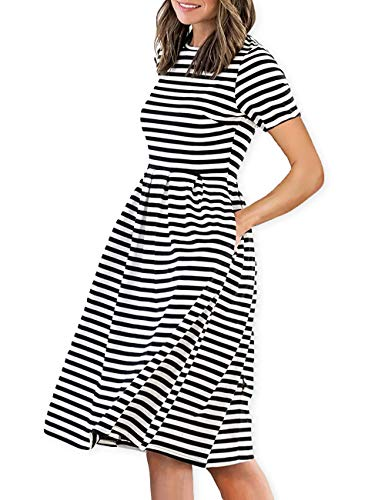(AOOKSMERY Women Casual Cotton Mid Pleat Dress Short Sleeve O-Neck Stripes Dresses with Pocket)