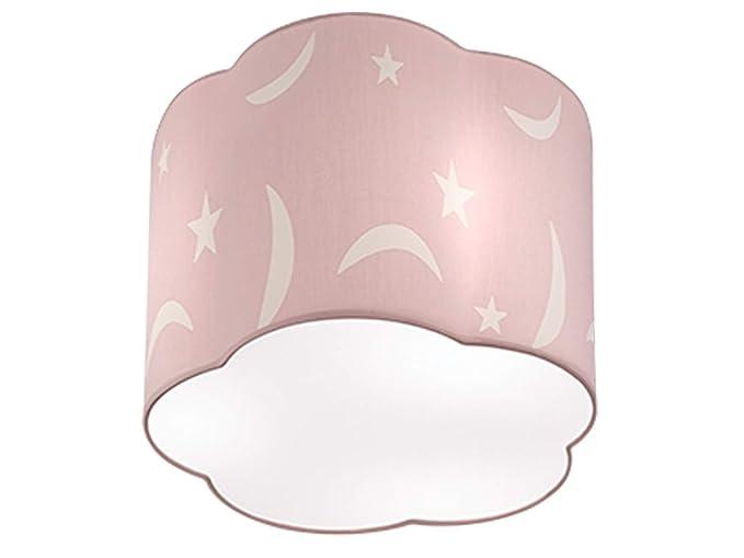 Lámpara de techo redonda LED con pantalla de tela en rosa ...