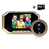 Digital Door Peephole Viewer Camera(8G Micro Card Included), 3.5 Inches 160°PIR Motion Sensor IR Night Vision Wireless Peephole Viewer, Motion Detection+ 2 Million Pixels by AOWIN (Gold)