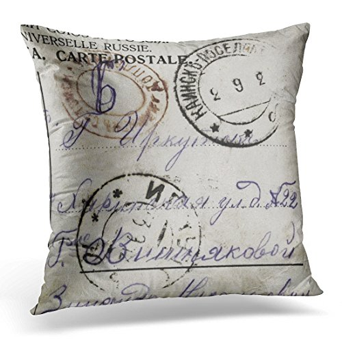 Stamp Postal Cover (UPOOS Throw Pillow Cover Aged Postage Stamps on Old Russian Text Is Address and Addressee Black Blank Decorative Pillow Case Home Decor Square 20x20 Inches Pillowcase)