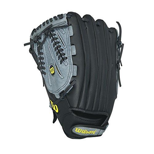 Wilson A360 Slowpitch Softball Glove, Grey/Black/White, Left Hand Throw, (White Slow Pitch Softball)