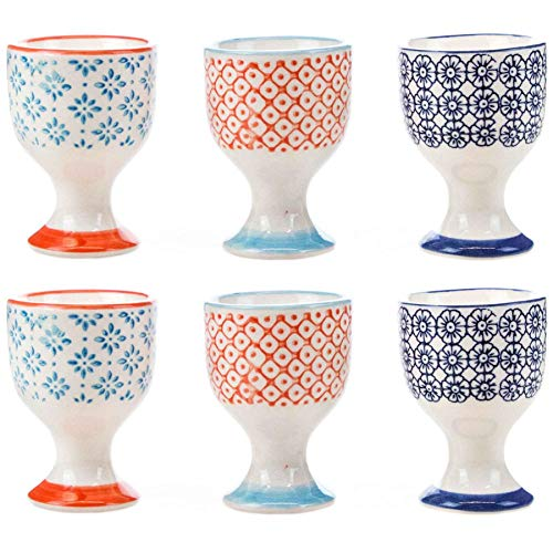 (Nicola Spring Patterned Egg Cups - Porcelain Breakfast Set Multipack - Pack of 6)