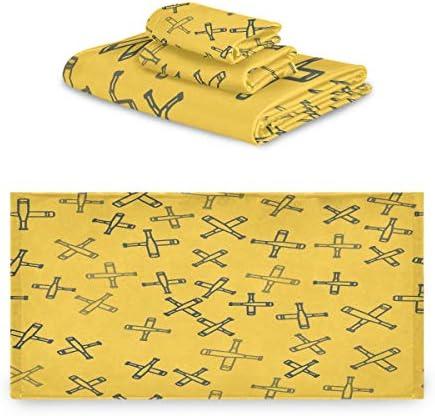 タオル バスタオル フェイスタオル ハンドタオル タオルセット 3点セット バット 黄色い 背景 野球 運動速乾 瞬間吸水 耐久性 肌触り抜群