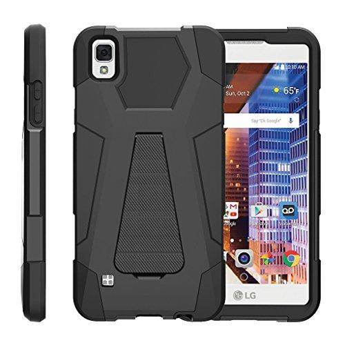TurtleArmor | LG Tribute HD Case | LG Volt 3 Case | LG X Style Case [Dynamic Shell] Hybrid Dual Layer Hard Shell Kickstand Silicone Case - Black