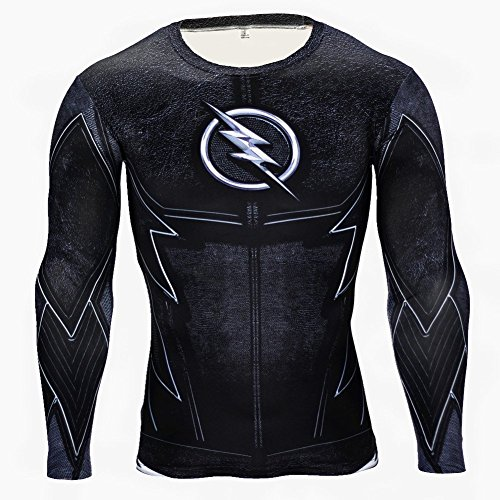 Superhero Shirt Compression Sports Shirt Runing Fitness Gym Men's Long Sleeve Base Layer M