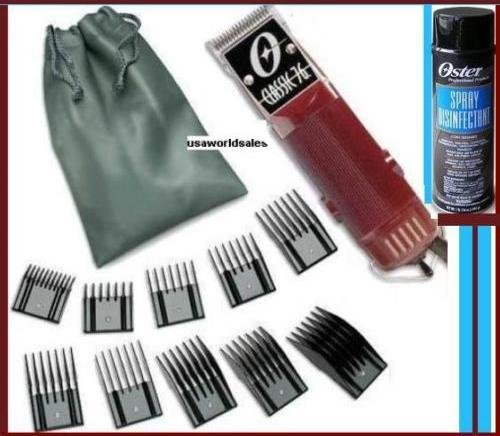 Oster Classic 76 Hair Clipper with 10 piece Comb guide set and Spray Disinfectant Package Brand New