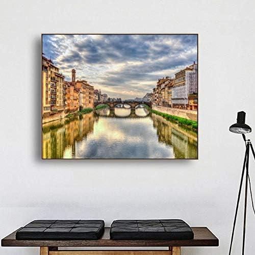 キャンバス書道絵画都市水辺のポスターと版画、壁アートワーク写真用リビングルーム家の装飾90×72センチなしフレーム