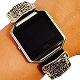 Fitbit Blaze Jewelry - Fitness Tracker Accessory Bracelet - Modern Geometric Silver Gemstone Rectangular ARGENTINA Charm Bracelet Accessory
