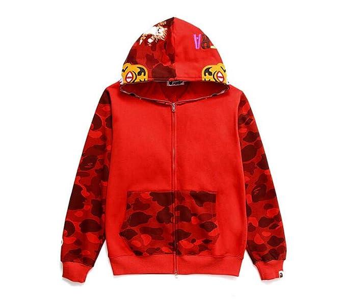 6a7c2743 DuoLu Bape Fashion Camo Print Cotton Zip Cardigan Hoodie Casual Sweater Men/Women  at Amazon Men's Clothing store: