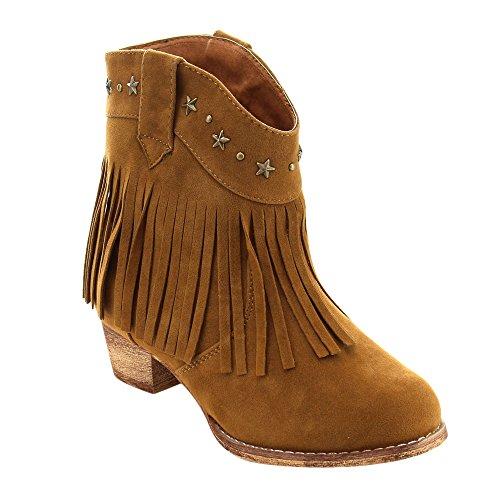 I Yokids Cece-65K Girl's Modern Studded Fringe Cowboy Chunky Ankle Bootie,Rust,11