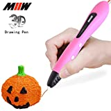 MIIW 3D Printing Pen, No Mess Non-Toxic With PCL Filament New Version Fun Teens girl Toys For Holiday, Great Birthday Gifts, Children Artists To Create Arts Crafts Best Kid Present,OLED Display Pink