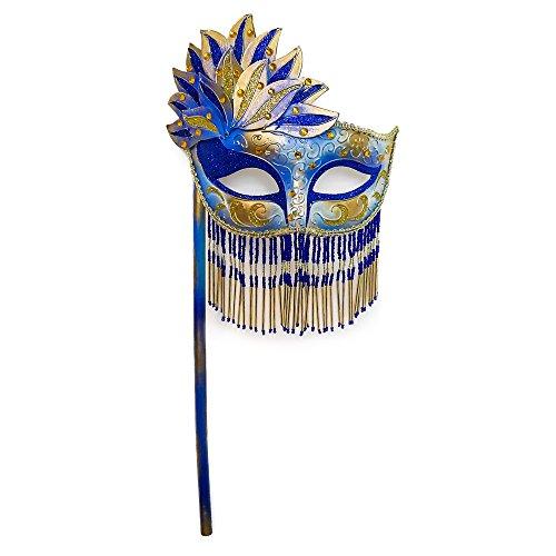 [Beyondmasquerade Mardi Gras Masquerade Mask w/ Handheld Stick (Royal Blue)] (Blue Mardi Gras Mask)