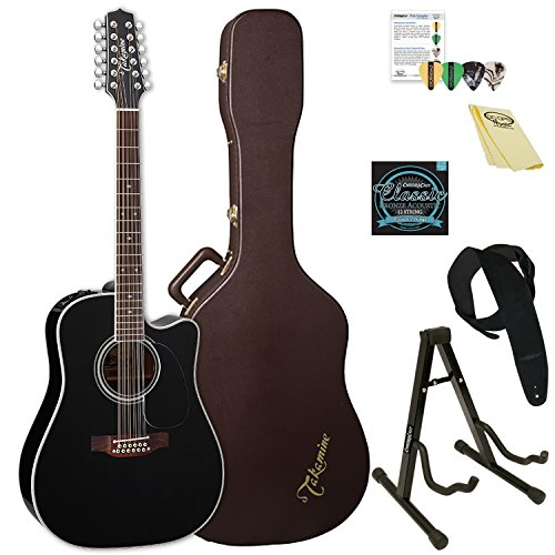 Takamine EF381SC-KIT-2 12-String Dreadnought Acoustic-Electric Guitar with Hard Case & ChromaCast Accessories (12 Electric Takamine Acoustic String)