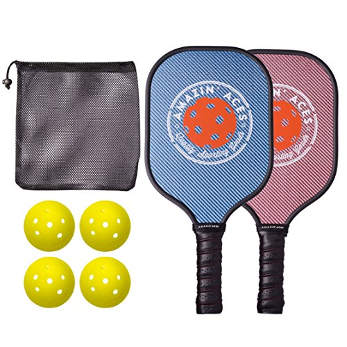 Amazin' Aces Pickleball Paddle Bundle | Set Includes Two Graphite Paddles + Four Balls + One Mesh Pickleball Carrying Bag | Rackets Feature Graphite Face with PP Honeycomb Core (Blue (Bundle Set)