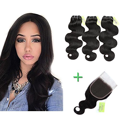 Indian Body Wave Hair Bundles with Closure, Re4U Virgin Human Hair Bundles Unprocessed Tangle Free Hair Weaving Double Weft with Free Part Lace Closure (Natural Color 16 18 20 with 14inch)