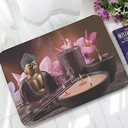 TecBillion Non-Slip Mat,Asian Decor,for Bathroom Kitchen Bedroom,Candle and Exotic Floral Background Zen
