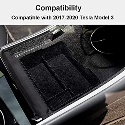 ROSON Tesla Model 3 Accessories Flocked Center Console Organizer Compatible with 2020 2020 2020 2020, Insert Tray, Armrest Box Insert Tray: Automotive
