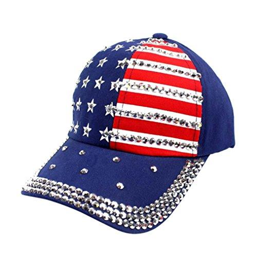 Goodtrade8® Patriotic American Flag Women Embroidered Rhinestone Cotton Baseball Cap Hat Unisex Plain Adjustable Snapback Summer Fashion Hat (Free Size, Navy)