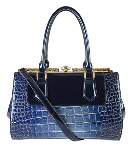 rimen-co-shiny-patent-pu-leather-animal-print-doctor-style-womens-purse-top-handle-handbag-accented-