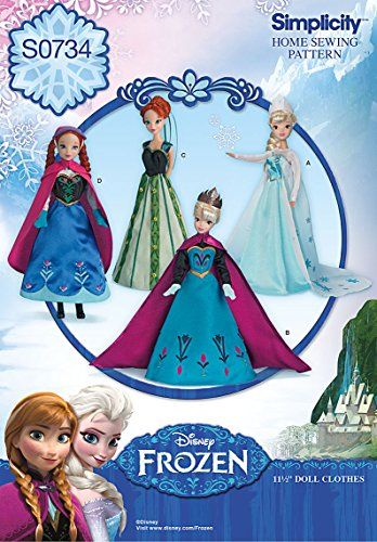 - Simplicity Creative Patterns S0734 Disney's Frozen Doll Pattern Clothes, 11-1/2-Inch
