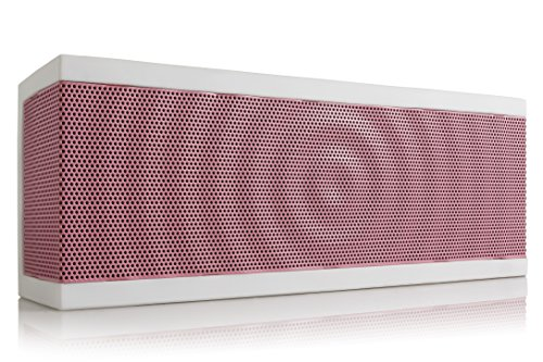 SoundBlock Custom Bluetooth Wireless Stereo Speaker for Computers and Smartphones. Bluetooth 3.0 Technology with Built-in Speakerphone and 10 Hour Rechargeable Battery. In White/Pink