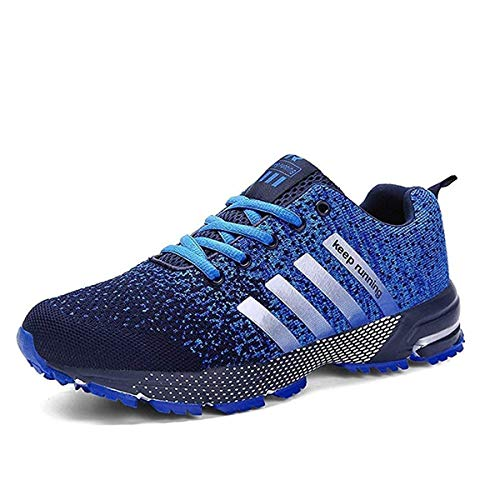 Ahico Running Shoes Mens - Walking Shoe for Men Tennis Fashion Sneakers Lightweight Breathable Men's Athletic Cross Training Sport Blue Size 9.5