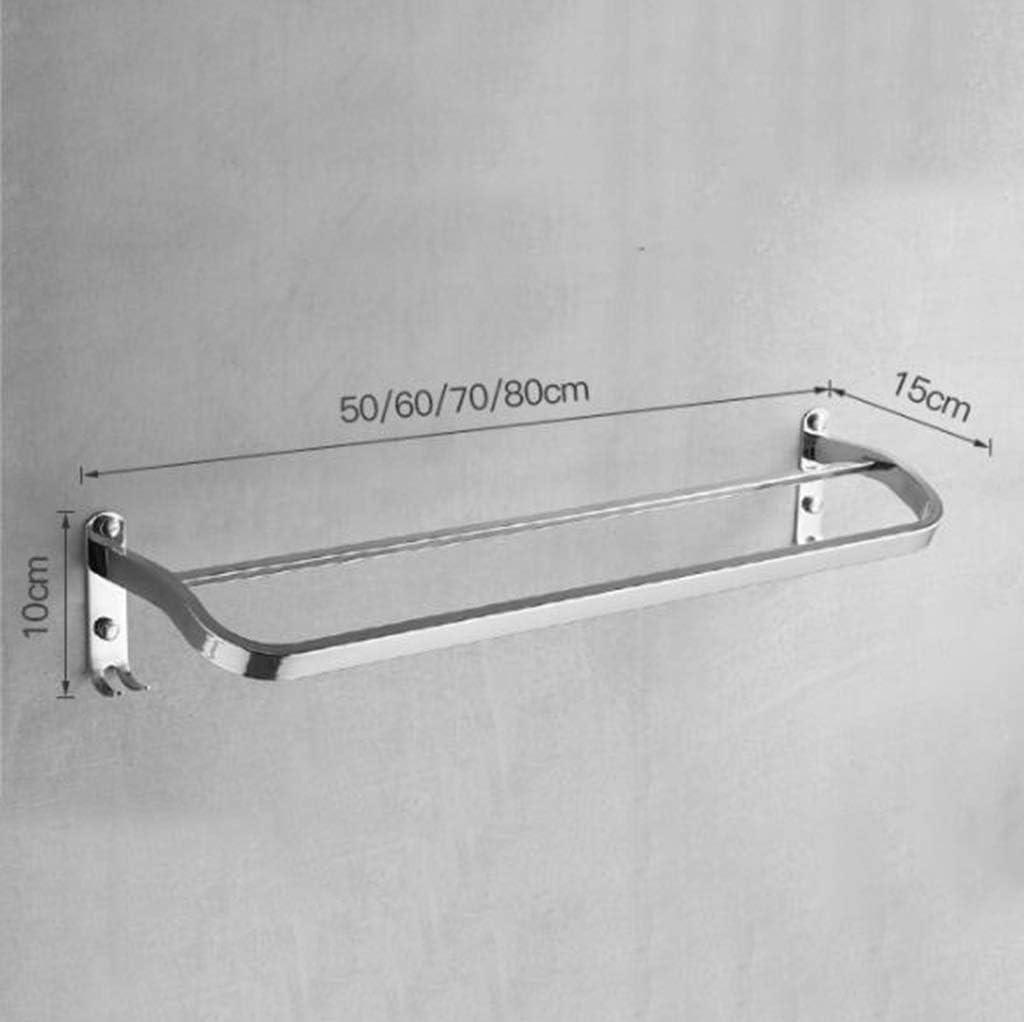 タオルバータオルスタンドダブルロッド無料パンチ304ステンレスタオルラックバスルームバスルームペンダント(サイズ:80 cm)