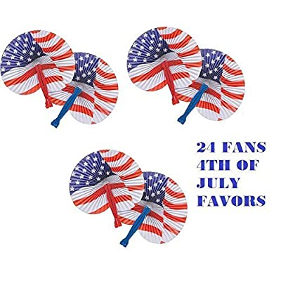 (24) PATRIOTIC USA 10'' Paper Fans ~ Stars & Stripes Design ~ Independence Day ~ Party Favors ~ Fourth of July Parade Pride ~ Cookout PICNIC Fun Prize ~ 24 New