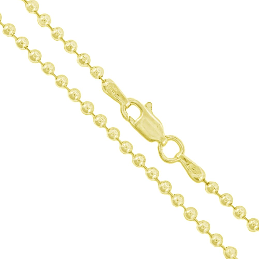 22k Yellow gold Plated Sterling Silver Italian Ball Bead Chain 2.2mm 925  New Dog Tag Necklace 18