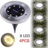 Nesix Solar Ground Light, 4Pcs 8LED Solar Lights Outdoor Ground Lights, Waterproof Path Garden Landscape Lighting for Yard Garden Driveway Lawn Pathway Decking (4Pcs)